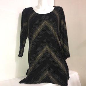 Soma Black Gold Glitter Striped Rayon MixLoungwear
